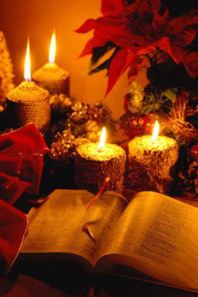 Christmas candles Bible poinsettia